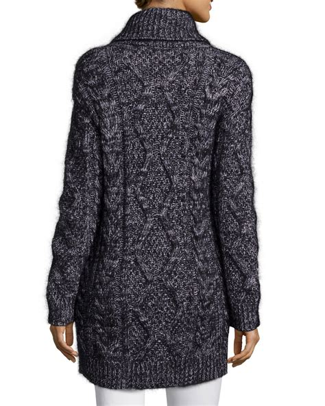 Chunky Cardigan lyst valentino chunky wool blend cardigan in black