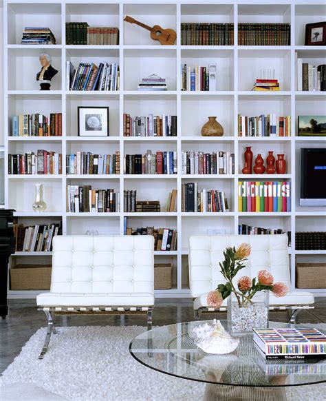 Living Room Modern Living Room Design With Big Whte Bookshelves For Room