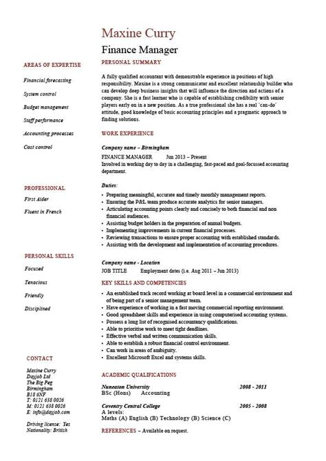 finance manager resume cv exle sle templates