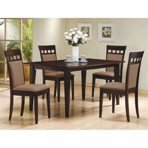5 pc espresso brown 4 person table and chairs dining