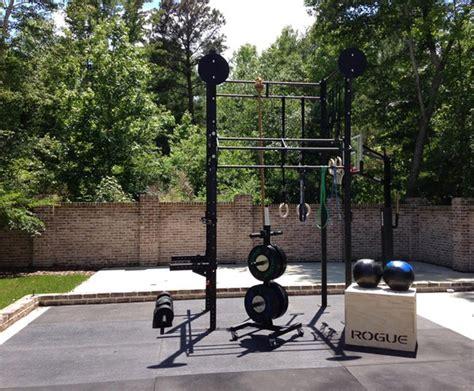 backyard crossfit gym sweet rogue outdoor setup huge power rack bumper plates