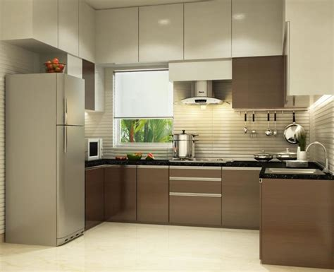 shaped kitchen  modern cabinets  false ceiling
