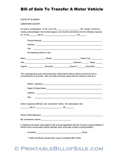 vehicle bill of sale form free download edit fill create and