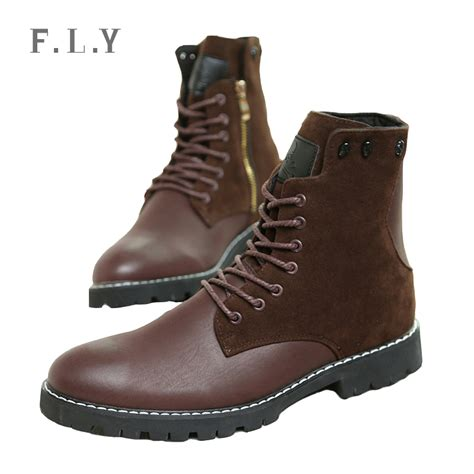 mens high boots leather 2015 new tide high top leather boots mens