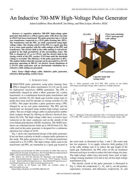 high voltage pulse generator pdf pdf an inductive 700 mw high voltage pulse generator