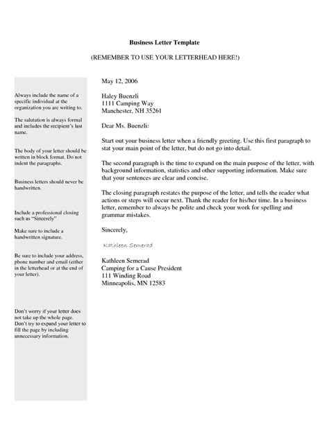 letter templates tips on how to write the professional business letter