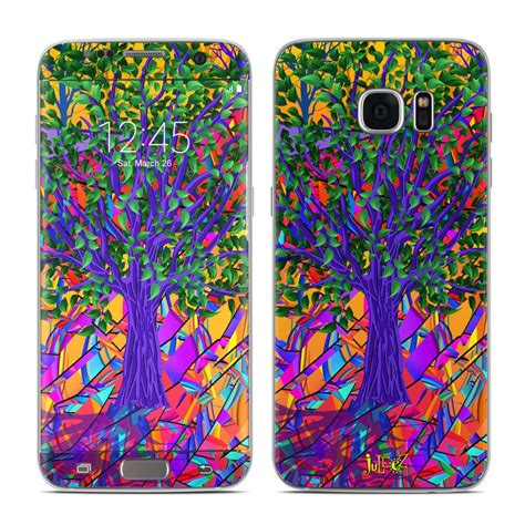 Casing Samsung S7 Edge Stained Glass Custom samsung galaxy s7 edge skin stained glass tree by juleez