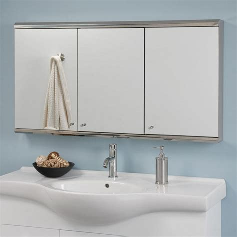 cosmopolitan stainless steel triview medicine cabinet