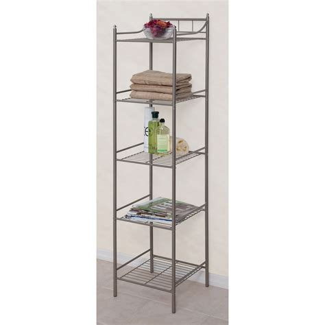 bathroom furniture storage towers essential home chrome tower 5 shelf home furniture