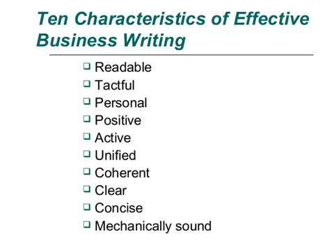 Business Communication Letter Writing Ppt ten characteristics of effective business writing