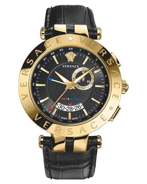 versace gold v race gmt leather for lyst