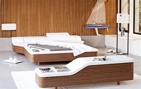 walnut white platform bed cover modern design
