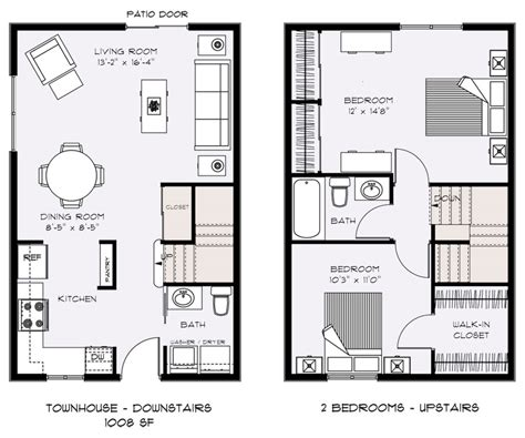 two floor plans townhouse floor plans designs homes floor plans