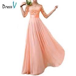elegant half sleeves peach chiffon lace bridesmaid dresses