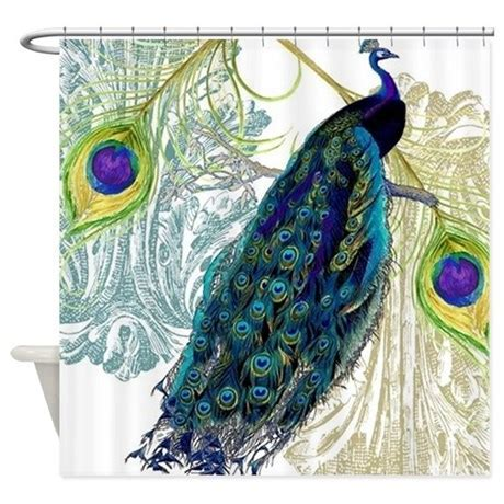 Vintage Peacock Bird Feathers Etchi Shower Curtain by