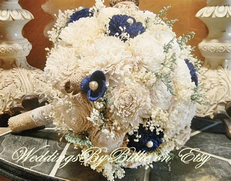 fall bouquets burlap lace navy blue sola bouquet blue