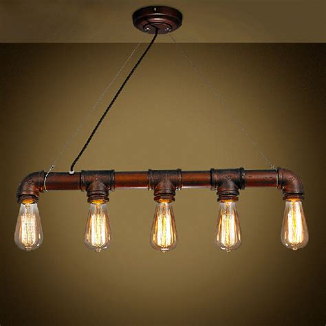 Dining Room Lights With Edison Bulbs Vintage Edison Pendant Light Retro Water Pipe Pendant L