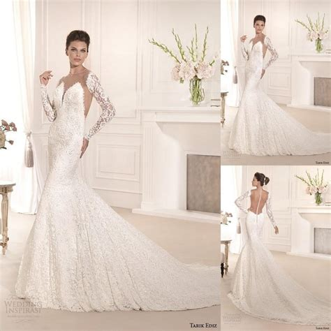 2015 spring mermaid wedding dresses tarik ediz sheer
