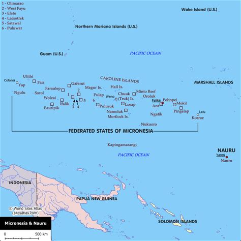 map of micronesia political map of the federated states of micronesia and