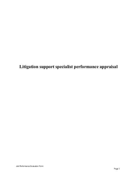 Litigation Support Specialist by Litigation Support Specialist Performance Appraisal