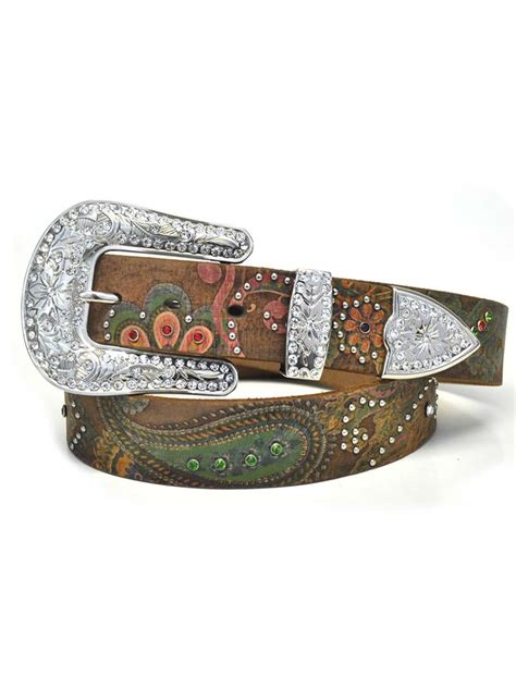 nocona womens studded paisley brown pink western leather