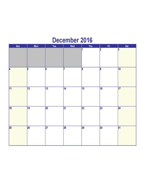 Calendar December 2016 Template