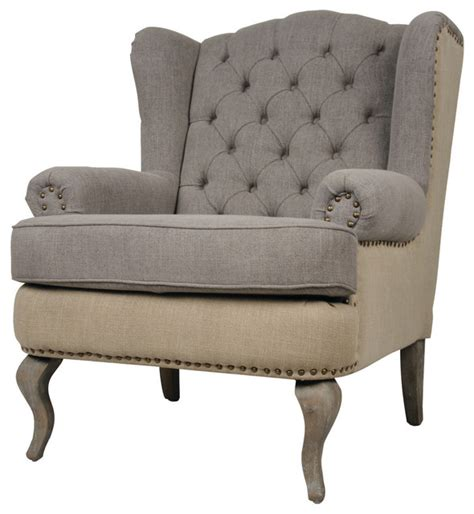 Fabric For Armchair by Tufted Wingback Fabric Armchair Traditional Armchairs And