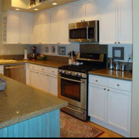 kitchen makeover inspiration island painted turquoise