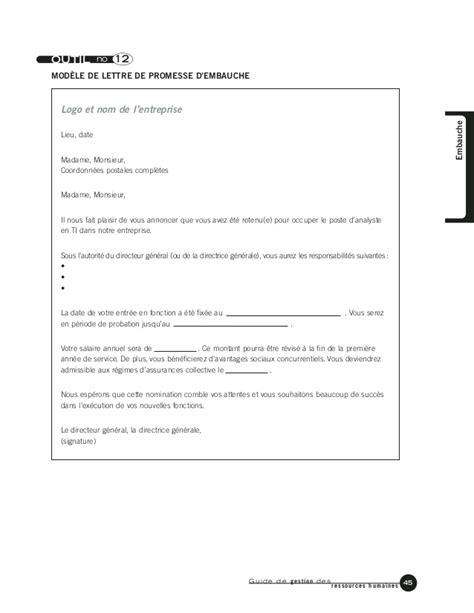 Modele Lettre Promesse D Embauche