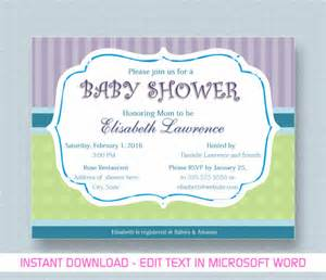 baby shower templates for word baby shower invitation template 26 free psd vector eps