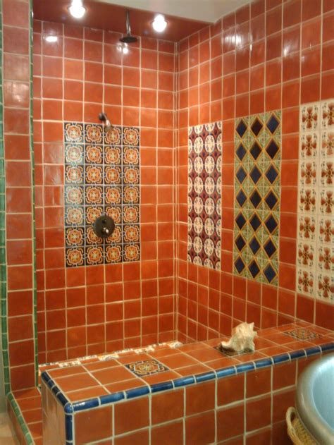mexican tile bathroom ideas mexican tile shower santa cyn inspirations