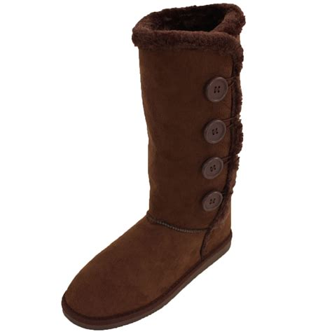 womens fur boots buttons mid calf snow shoes faux