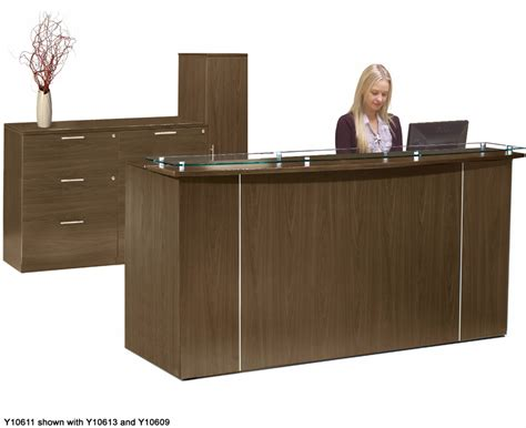 custom standing height glass top reception desks 6 w