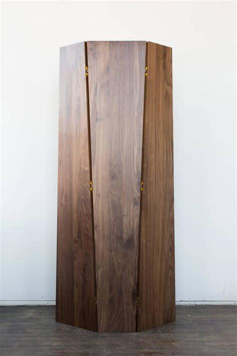 Handmade Tri Fold Solid Walnut Folding Screen Or Room Tri Fold Room Divider