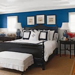 blue and white room blue room with white trim and black bed pinpoint