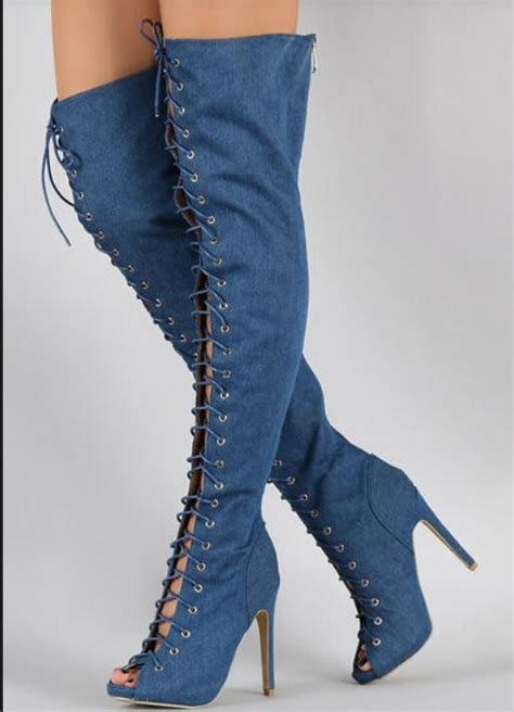 Supplier Ammy Top By aliexpress buy new designer lace up thigh high stiletto heel denim boots high quality fish