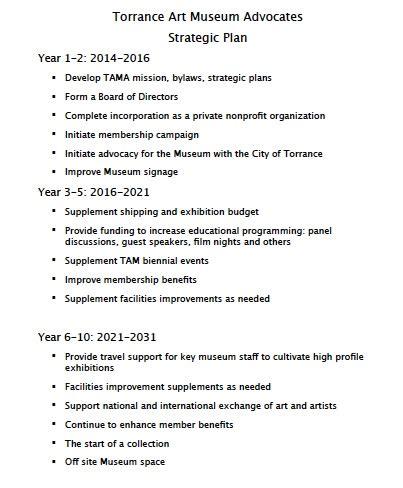 Strategic Plan Torrance Art Museum Advocates Museum Strategic Plan Template