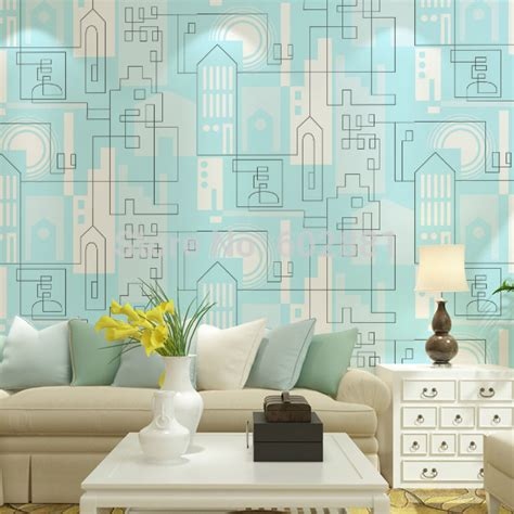 Bedroom Drawing Wall 6262 Modern City Building Wallpaper Blue Geometric