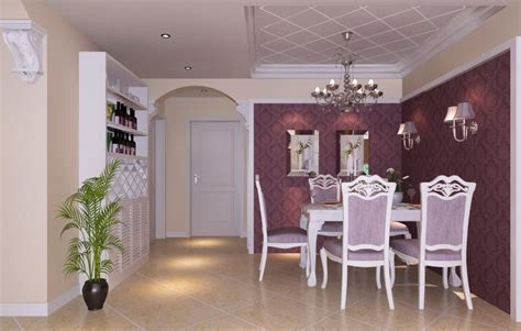 purple dining room interior design 3d house
