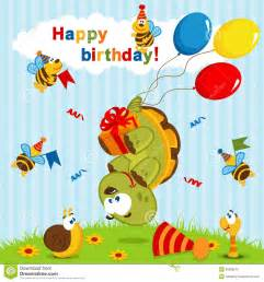 birthday turtle flown on balloons royalty free stock