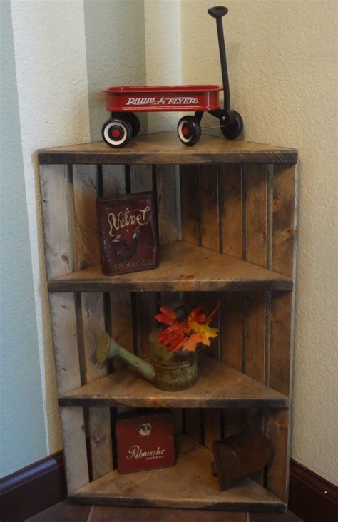 Corner Crate Shelf Rustic Grey Shelf Corner Shelf Wooden Wood Corner Shelves