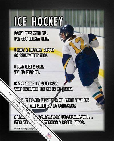 printable hockey quotes ice hockey female player on ice 8x10 sport poster print
