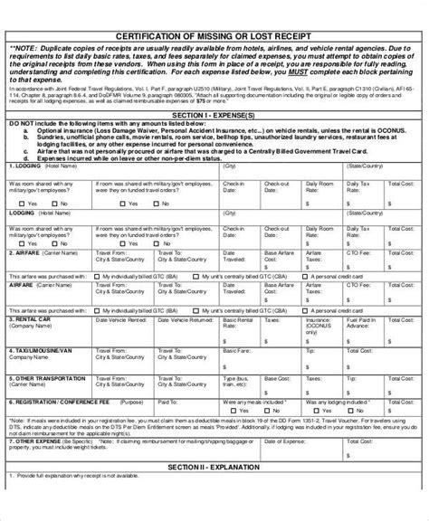 lost receipt template receipt forms in pdf