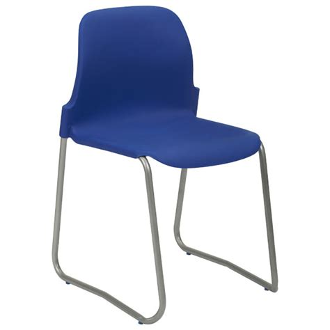 School Chairs by Skidbase Stackable School Chairs 430mm High Blue Seat Grey