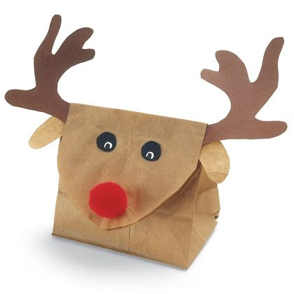 Reindeer Paper Bag Craft - food for 37 edible reindeer crafts
