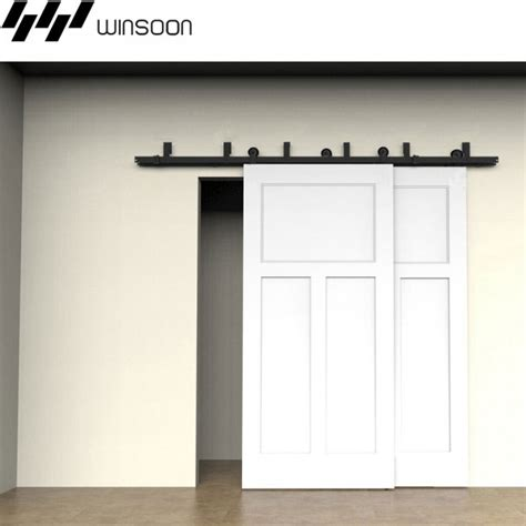 Barn Door Tracker Kit Winsoon 5 16ft Sliding Bypass Barn Door Hardware Doors Track Kit New