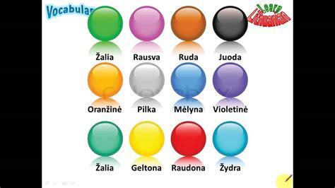 color vocabulary lithuanian vocabulary colours