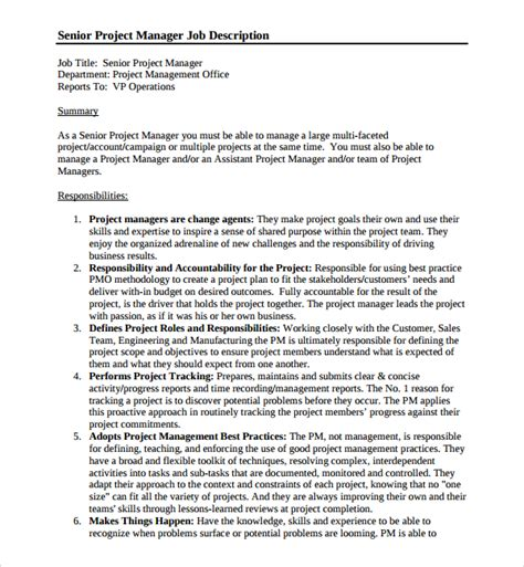 10 Job Description Templates Sle Templates Manager Description Template
