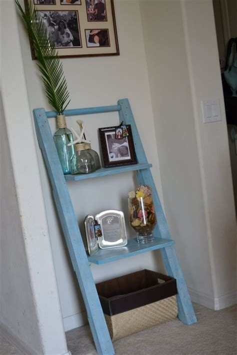 how to make shelves out of pallets make your own leaning shelf from pallets