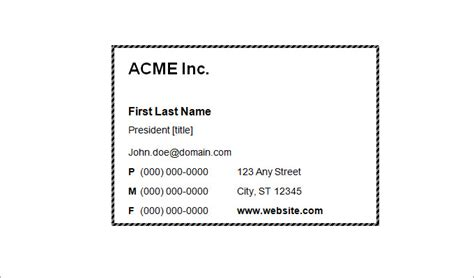 plain business card template word best free home